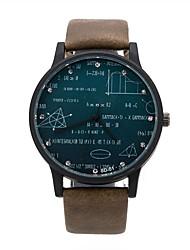 baratos -Homens Relógio de Pulso Venda imperdível Couro Banda Relógios com Palavras Preta / Marrom / Verde / Aço Inoxidável / KC 377A