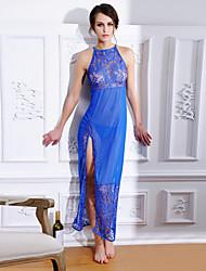 economico -Donna Lingerie di pizzo Camicie da notte e vestitini Indumenti da notte,Sexy Di pizzo Tinta unita Nylon Poliestere Blu