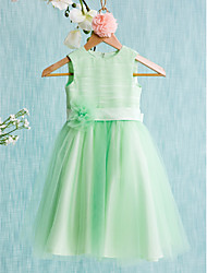 cheap -Ball Gown Knee Length Flower Girl Dress - Satin Tulle Sleeveless Jewel Neck with Bow(s) Sash / Ribbon Flower by LAN TING BRIDE®