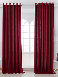 Two Panels Curtain Modern , Solid Living Room Linen/Polyester Blend Material Curtains Drapes Home Decoration For Window