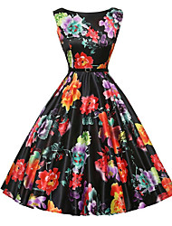 cheap -Women's Party Daily Vintage A Line Skater Dress,Floral Print Round Neck Knee-length Sleeveless Polyester Summer Mid Rise