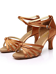 cheap -Women's Latin Shoes / Ballroom Shoes / Salsa Shoes Satin Sandal Buckle Customized Heel Customizable Dance Shoes Brown / Gold / Royal Blue