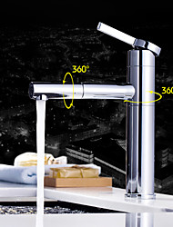 cheap -Contemporary Deck Mounted Pullout Spray Rotatable Ceramic Valve One Hole Single Handle One Hole Chrome , Bathroom Sink Faucet