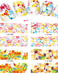 8pcs  Nail Art Water Transfer Stickers Abstractive Flower And Tree  Image Fashion C180-183