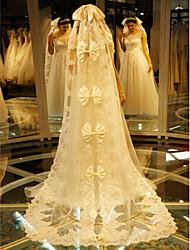 Uma Camada Borda com aplicação de Renda Véus de Noiva Véu Catedral Com Bordado Renda Tule