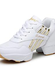 Women's Dance Sneakers Synthetic Sneakers Practice Indoor Outdoor Cuban Heel White Black/Red Non Customizable