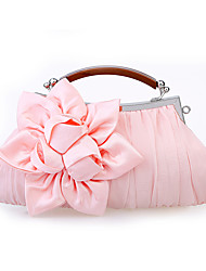 Women Bags All Seasons Satin Chiffon Evening Bag Flower Ruffles for Wedding Event/Party Casual Gray Purple Red Blushing Pink Khaki