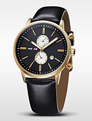 WEIDE Pánské Náramkové hodinky Křemenný Japonské Quartz Kalendář Kůže Kapela Černá Zlatá Bílá Černá Zlatá + černá