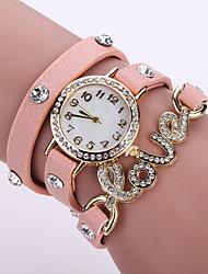 baratos -Mulheres Bracele Relógio Venda imperdível Couro Banda Flor / Fashion Preta / Branco / Azul / Um ano / Jinli 377
