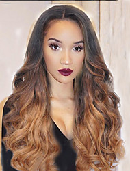 cheap -Human Hair Full Lace Lace Front Wig Wavy 130% Density 100% Hand Tied African American Wig Natural Hairline Ombre Hair Medium Long Women's