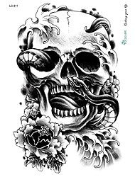 cheap -21*15cm Large Big Tattoo Sticker Halloween Horror Skull Black Designs Temporary Tattoo Skeleton Snake Flower