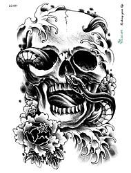 21 * 15cm grandes grande etiqueta tatuaje del cráneo de Halloween de terror diseños negros tatuaje temporal de flores esqueleto de