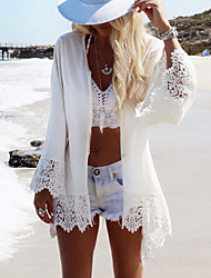 Women's Boho Halter One-pieces / Cover-Ups,Solid One-Pieces Polyester / Roman Knit White
