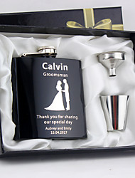 cheap -Stainless Steel Hip Flasks Bride Groom Bridesmaid Groomsman Couple Parents Wedding Anniversary Birthday Congratulations Graduation Thank