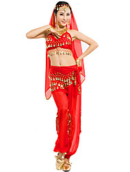 Shall We Belly Dance Outfits Women 4 Pieces Top/Veil/Scarf/Pants