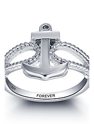 cheap -Fashion Personalized Promise 925 Sterling Silver Anchor Finger Ring For Women