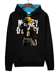 Inspired by One Piece Monkey D. Luffy Anime Cosplay Costumes Cosplay Hoodies Print Long Sleeves Top For Unisex