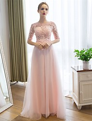 Sheath / Column Scoop Neck Floor Length Lace Tulle Prom Formal Evening Dress with Sash / Ribbon by Embroidered bridal