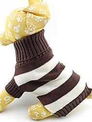 Недорогие -Кошка Собака Свитера Одежда для собак В полоску Хлопок Костюм Назначение Зима Муж. Жен. Сохраняет тепло Мода