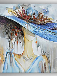 cheap -Oil Painting a Girl Wearing Hat Hand Painted Canvas with Stretched Framed