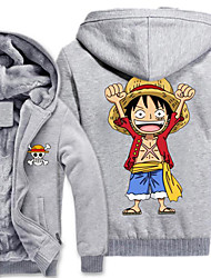 Inspired by One Piece Monkey D. Luffy Anime Cosplay Costumes Cosplay Hoodies Print Long Sleeves Top For Male