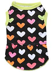 abordables -Chat Chien Robe Vêtements pour Chien Floral / Botanique Noir Coton Costume Pour les animaux domestiques Femme Mode