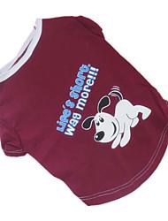 economico -Cane T-shirt Abbigliamento per cani Traspirante Cartoni animati Lettere & Numeri Rosso scuro Costume Per animali domestici