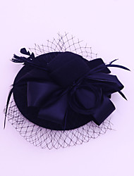 abordables -flannelette pluma satén red fascinators casco estilo elegante