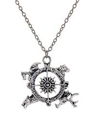 mode style antique en alliage d'argent boussole pendentif collier style élégant