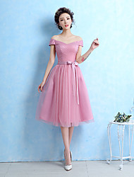 cheap -Ball Gown Off-the-shoulder Tea Length Tulle Bridesmaid Dress with Sash / Ribbon Side Draping by LAN TING BRIDE®