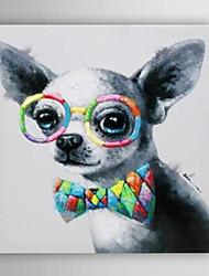 Hand Painted Oil Painting Animal A Dog With Glasses with Stretched Frame 7 Wall Arts®