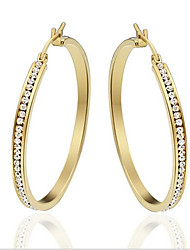 Women's Hoop Earrings Fashion Rhinestone Titanium Steel Gold Plated Circle Oval Jewelry For Party Daily Casual