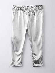 abordables -Pantalons Fille Couleur Pleine Coton Toutes les Saisons Habillement Argent