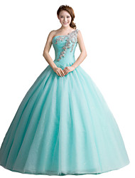 cheap -Ball Gown Princess One Shoulder Floor Length Tulle Formal Evening Dress with Crystal Detailing by SG