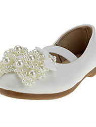 cheap -Girls' Shoes Leatherette / Fabric Spring / Fall Comfort Flats Crystal / Bowknot / Imitation Pearl for White / Pink / Wedding