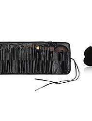 24X Make-up Pinsel Holzgriff blush / Stiftung / Pulver / shadow / Liner Pinsel Kosmetikkoffer und kleine Make-up Schwamm