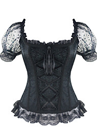 Burvogue Women's Short Sleeve Gothic Steampunk Jacquard Overbust Corsets Tops