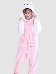 Lovely Kitten White and Pink Coral Fleece Adult Kigurumi Pajama