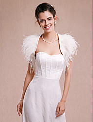 cheap -Sleeveless Satin Feather / Fur Wedding Party Evening Wedding  Wraps Shrugs