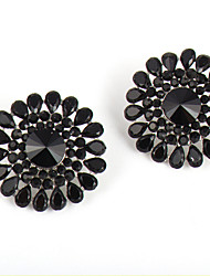 cheap -Black Flower Shiny Droplets Resin Stud Earrings Daily 1 pair