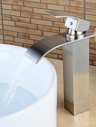 baratos -Moderna Conjunto Central Cascata Válvula Cerâmica Monocomando e Uma Abertura Níquel Escovado, Torneira pia do banheiro