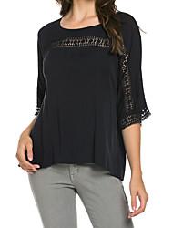 cheap -Women's Flare Sleeve  Chiffon Blouse Crochet Lace O Neck Half Sleeves Asymmetric Hem Large Size Casual Top
