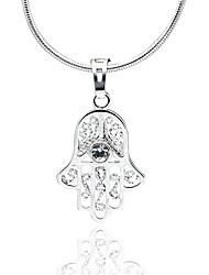 Classic Crystal AAA Zircon Fatima's Hand Pendant Platinum Plated Necklace,Fine Jewelry Gift Unisex (Include Chain 45CM)Imitation Diamond Birthstone