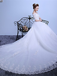 Ball Gown Off-the-shoulder Cathedral Train Lace Satin Tulle Wedding Dress with Lace by Embroidered bridal