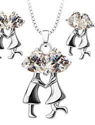 abordables -Mujer Cristal Conjunto de joyas - Zirconio, Plateado Vintage, Moda Incluir Collar / pendientes Plata Para Boda / Fiesta / Diario / Pendientes / Collare