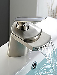 Bathroom Sink Faucet Waterfall Nickel Brushed Centerset Single Handle One Holebath Taps