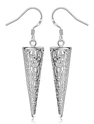 cheap -Women's S925 Silver Plated Hollow Out Cone Drop Earrings(Color Preserving More Than A Year)