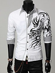 New Brand Dress Men Shirt Long Sleeve Cotton Male Business Casual Printed Fashion Formal Slim Shirts