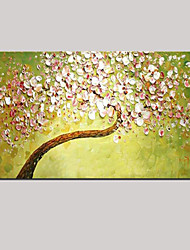 cheap -Palette Knife Art Oil Painting Hand Painted Wall Decor Picture Fresh Green Pink Cherry Blossom Stretched (Ready to Hang)