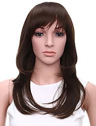 tepelně odolné levné falešné vlasy paruka 20inch přírodní vlna tmavohnědé syntetické paruky pro ženy
